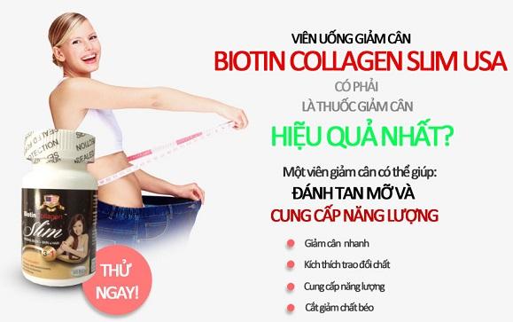 Biotin Collagen Slim với 3 tác dụng hiệu quả đặc biệt: giảm cân, đẹp da, mượt tóc