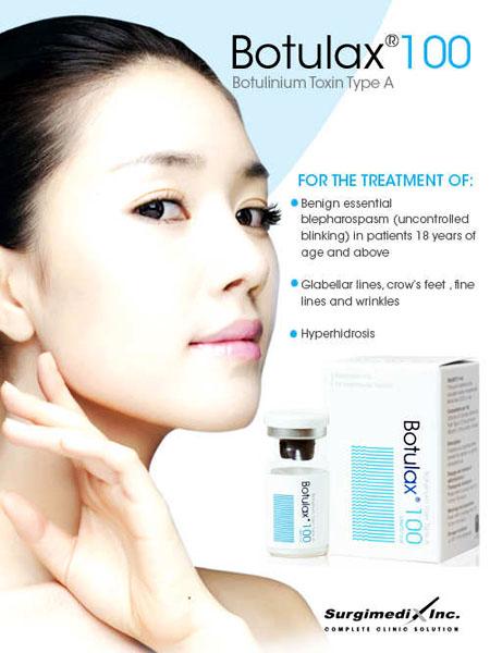 Botox Botulax Hàn Quốc xóa nhăn vùng da mặt, trán, cằm, cổ, mu bàn tay