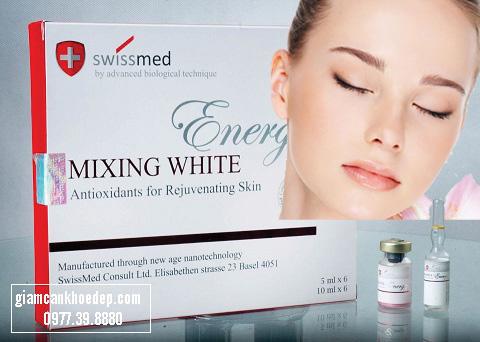 Thuốc tiêm trắng da Mixing White Energize chứa glutathione 1500mg từ Thụy Sĩ giúp cho bạn có làn da trắng sáng, khỏe mạnh