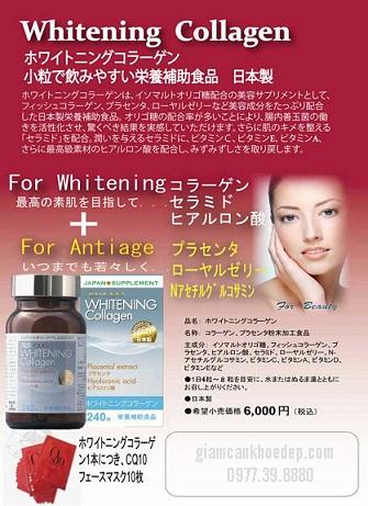 Whitening Collagen  với tính chất làm trắng từ bên trong có tác động ức chế tổng hợp Melanin ngăn chặn nám và làm trắng da