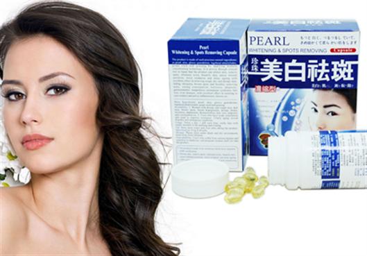 Pearl Whitening Spots Removing viên uống trắng da trị nám sản xuất 100% từ thảo dược thiên nhiên giúp hồi sinh da nám và lão hóa da với viên gel làm từ ngọc trai.